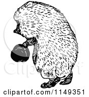 Clipart Of A Retro Vintage Black And White Hedgehog Holding A Hat Royalty Free Vector Illustration by Prawny Vintage