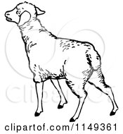 Clipart Of A Retro Vintage Black And White Lamb Royalty Free Vector Illustration by Prawny Vintage