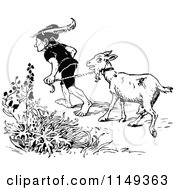 Clipart Of A Retro Vintage Black And White Man Leading A Goat Royalty Free Vector Illustration