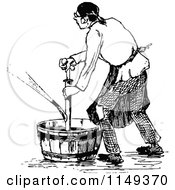 Clipart Of A Retro Vintage Black And White Man Using A Pump In A Bucket Royalty Free Vector Illustration by Prawny Vintage