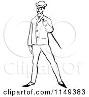 Clipart Of A Retro Vintage Black And White Posh Man With A Cane Royalty Free Vector Illustration