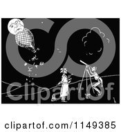 Clipart Of A Retro Vintage Black And White Man Viewing A Hot Air Balloon Crashing Into The Moon Royalty Free Vector Illustration by Prawny Vintage