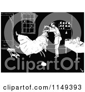 Clipart Of A Retro Vintage Black And White Man At A Barber Shop Royalty Free Vector Illustration