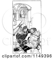 Clipart Of A Retro Vintage Black And White Man Feeding Another Royalty Free Vector Illustration