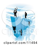 Businessmen Climbing Blue Bars To Reach The Top Where A Proud Business Man Stands