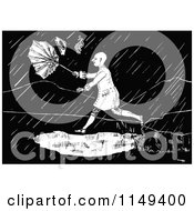Clipart Of A Retro Vintage Black And White Man In A Rain Storm Royalty Free Vector Illustration