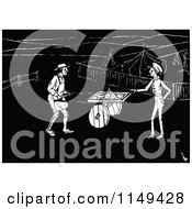 Clipart Of A Retro Vintage Black And White Pie Man And Customer Royalty Free Vector Illustration