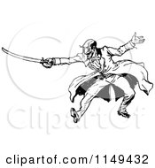 Clipart Of A Retro Vintage Black And White Man Sword Fighting Royalty Free Vector Illustration