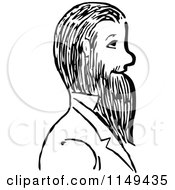 Clipart Of A Retro Vintage Black And White Man With A Beard Royalty Free Vector Illustration