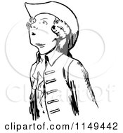 Clipart Of A Retro Vintage Black And White Young Man Looking Up Royalty Free Vector Illustration