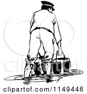 Clipart Of A Retro Vintage Black And White Man With Buckets In A Flood Royalty Free Vector Illustration
