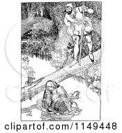 Retro Vintage Black And White Forest Man Talking To A Man In A Creek