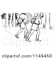 Clipart Of A Retro Vintage Black And White Forest Men In The Woods 2 Royalty Free Vector Illustration