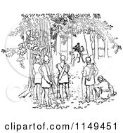 Clipart Of Retro Vintage Black And White Forest Men Watching Someone On Horseback Royalty Free Vector Illustration