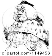Clipart Of A Retro Vintage Black And White Fat Man In A Wig Royalty Free Vector Illustration