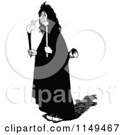 Clipart Of A Retro Vintage Black And White Creepy Man Carrying A Torch Royalty Free Vector Illustration by Prawny Vintage