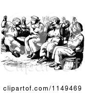 Clipart Of Retro Vintage Black And White Drunk Men Singing Royalty Free Vector Illustration