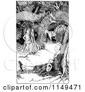 Clipart Of A Retro Vintage Black And White Boy Horse And Man Resting In The Woods Royalty Free Vector Illustration