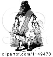 Clipart Of A Retro Vintage Black And White Rear View Of A Man With A Sword Royalty Free Vector Illustration by Prawny Vintage