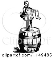 Clipart Of A Retro Vintage Black And White Man On A Barrel Selling Stockings Royalty Free Vector Illustration