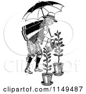 Clipart Of A Retro Vintage Black And White Man With Umbrella Watering Plants Royalty Free Vector Illustration by Prawny Vintage