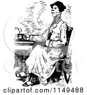 Clipart Of A Retro Vintage Black And White Man Drinking Coffee Or Tea Royalty Free Vector Illustration
