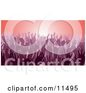Purple Group Of Silhouetted Hands In A Crowd Clipart Illustration