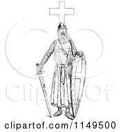 Clipart Of A Retro Vintage Black And White Knight With A Sword And Cross Royalty Free Vector Illustration by Prawny Vintage