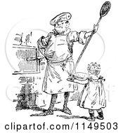 Retro Vintage Black And White Man And Girl Baking