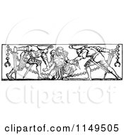 Clipart Of A Retro Vintage Black And White Prisoner In Chains And Guards Royalty Free Vector Illustration