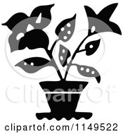 Clipart Of A Black And White Potted Plant Royalty Free Vector Illustration