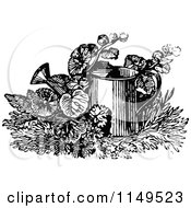 Clipart Of A Retro Vintage Black And White Watering Can In Plants Royalty Free Vector Illustration by Prawny Vintage