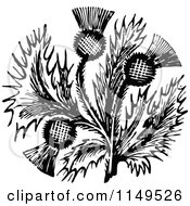 Clipart Of Retro Vintage Black And White Thistle Flower Royalty Free Vector Illustration