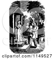 Clipart Of A Retro Vintage Black And White Gardener Approaching A Woman Royalty Free Vector Illustration by Prawny Vintage