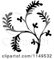 Clipart Of A Retro Vintage Black And White Plant Sprig Royalty Free Vector Illustration