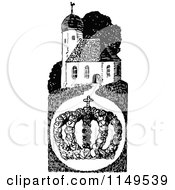 Clipart Of A Retro Vintage Black And White Crown And Church Royalty Free Vector Illustration by Prawny Vintage