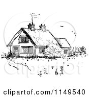 Clipart Of A Retro Vintage Black And White Country House Royalty Free Vector Illustration