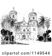 Clipart Of A Retro Vintage Black And White Church With Palm Trees Royalty Free Vector Illustration