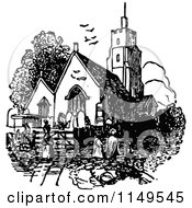 Clipart Of A Retro Vintage Black And White Church And People Royalty Free Vector Illustration