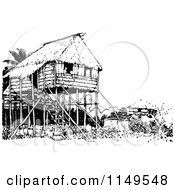 Clipart Of A Retro Vintage Black And White Stilt House Royalty Free Vector Illustration by Prawny Vintage
