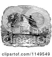 Retro Vintage Black And White Farm House