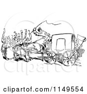 Clipart Of A Retro Vintage Black And White Rear View Of A Carriage And People Blocking Royalty Free Vector Illustration by Prawny Vintage