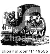 Clipart Of A Retro Vintage Black And White Footman And Horse Drawn Carriage Royalty Free Vector Illustration by Prawny Vintage