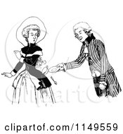 Clipart Of A Retro Vintage Black And White Man Spilling A Drink On A Woman Royalty Free Vector Illustration