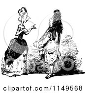 Clipart Of A Retro Vintage Black And White Couple Talking Royalty Free Vector Illustration