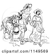 Clipart Of A Retro Vintage Black And White Couple Holding Hands And Leading A Horse Royalty Free Vector Illustration
