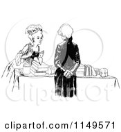 Clipart Of A Retro Vintage Black And White Woman Browsing A Salesmans Table Royalty Free Vector Illustration by Prawny Vintage