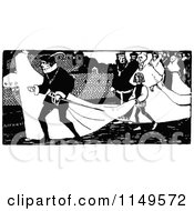 Clipart Of A Retro Vintage Black And White Bridal Procession Royalty Free Vector Illustration