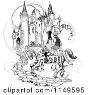 Clipart Of A Retro Vintage Black And White Medieval Horse And Men Arriving At A Castle Royalty Free Vector Illustration by Prawny Vintage