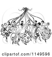 Clipart Of Retro Vintage Black And White People Dancing Around A Maypole Royalty Free Vector Illustration by Prawny Vintage